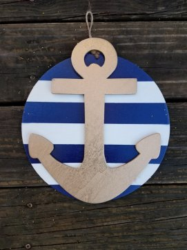 Navy and White Nautical Door Hanger $20